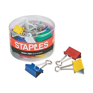 Staples Mini Binder Clips, Assorted Colors, 60/Pack (15347)