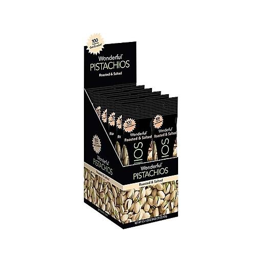 Wonderful Roasted & Salted Pistachios, 1.25 Oz., 12/Box (91345)