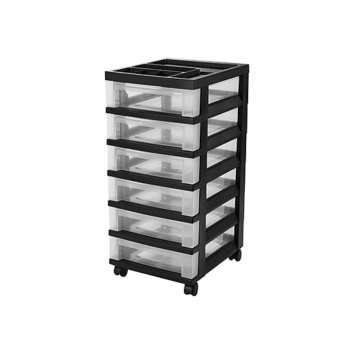 Iris 6 Drawer Storage Cart, Black (116833)