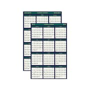"2018-2019 Academic House of Doolittle 37""H x 24""W Wall Calendar, Four Seasons, White/Green/Blue (391)"