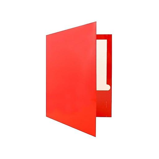 JAM Paper® Laminated Glossy 2 Pocket Presentation Folders, Red, 100/Box (385GRE)