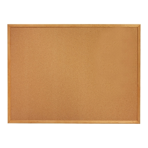 Quartet 5 X 3 Cork Bulletin Board With Oak Finish Frame 305
