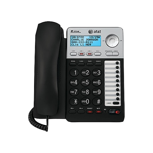 AT&T ML17929 2-Line Corded Phone, Black & Silver