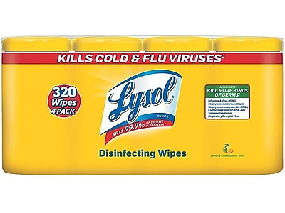 Lysol Disinfecting Wipes, Lemon and Lime Blossom, 80/Canister, 4/Pack (1920090641)