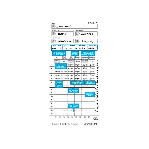 uPunch Time Card for HN4000 Time Clock, 100/Pack (HNTCL2100)