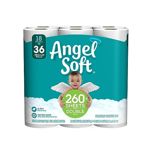 Angel Soft 2-Ply Standard Toilet Paper, White, 264 Sheets/Roll, 18 Rolls/Pack (775975)