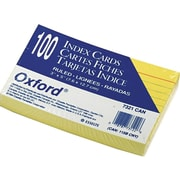 """Oxford Ruled 3"""" x 5"""" Index Cards, Canary, 100/Pack (OXF 7321 CAN)"""