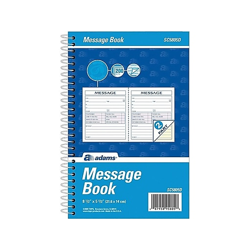 "Adams Phone Message Pad, 5.5"" x 8.5"", Ruled, White, 100 Sheets/Pad (SC5805D)"