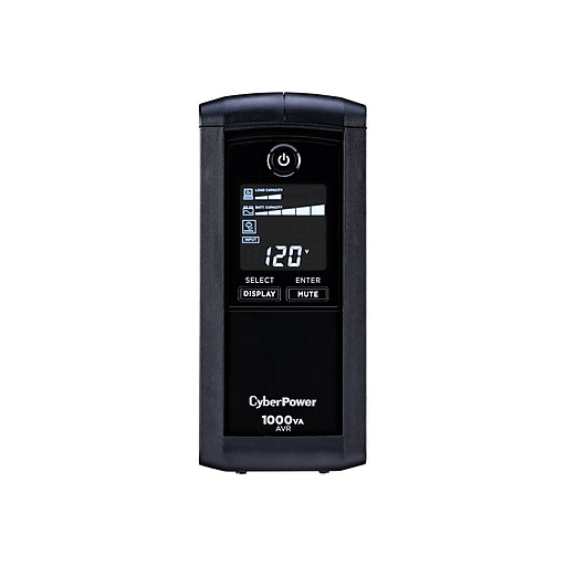 CyberPower Intelligent Mini-Tower LCD Battery Backup & Surge Protector w/  USB, 9 Outlets (CP1000AVRLCD)