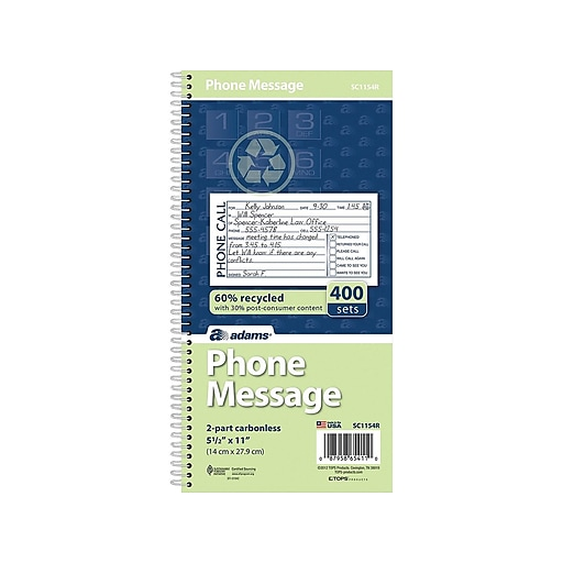 "Adams Phone Message Pad, 5.5"" x 11"", Ruled, White, 100 Sheets/Pad (SC1154R)"