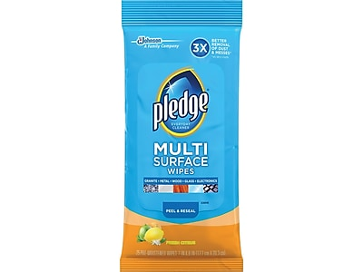 Pledge Multi Surface All-Purpose Cleaner, Fresh Citrus, 25/Pack (644080)