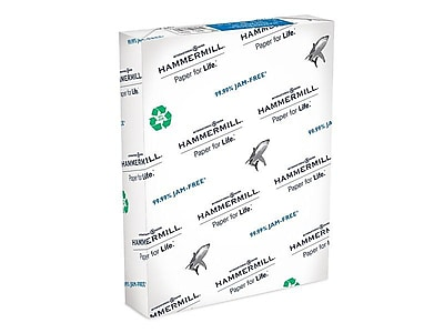 """Hammermill Great White 50% Recycled 8.5"""" x 11"""" Copy Paper, 20 lbs, 92 Brightness, 500/Ream (086780)"""
