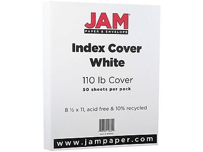 """JAM Paper Index Cover Cardstock Paper, 110 lbs, 8.5"""" x 11"""", White Vellum Bristol, 50/Pack (169855)"""