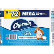 Charmin Ultra Soft Super Mega 2-Ply Standard Toilet Paper, White, 284 Sheets/Roll, 18 Rolls/Pack (99862)