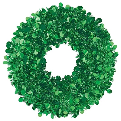 Amscan Tinsel Wreath, Green, 17