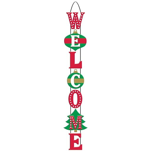 "Amscan Christmas Welcome Stacked Sign, 27.5"" x 4.5"", MDF, 2/Pack (241598)"