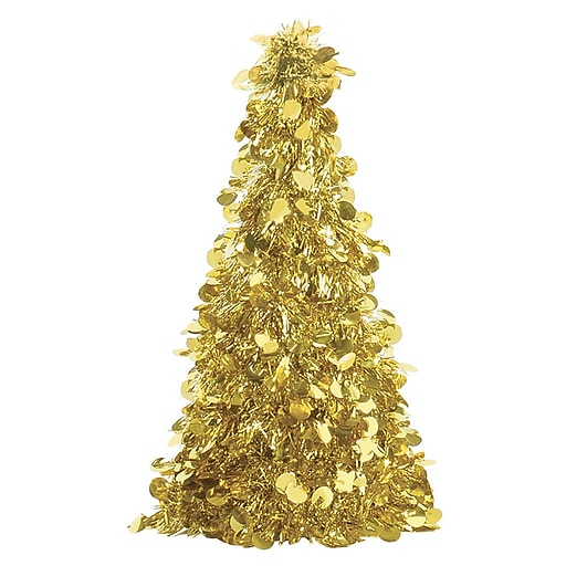 "Amscan Tinsel Tree Centerpiece, Gold, 10"", 6/Pack (240597)"