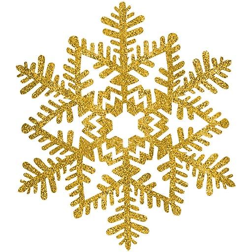 "Amscan Glitter Snowflake Decoration, Gold, Plastic, 6.5"", 7/Pack (190308)"