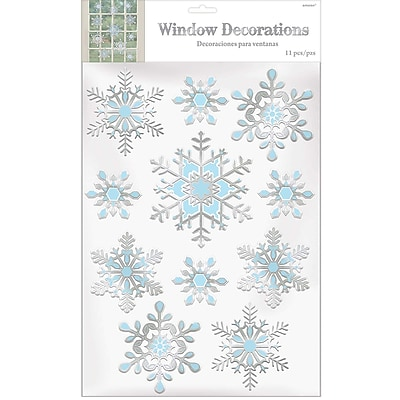 Amscan Snowflake Embossed Window Decoration, Foil, 3/Pack (241622)