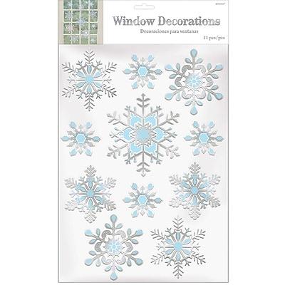 Amscan Snowflake Embossed Window Decoration, Foil, 3/Pack (241622)