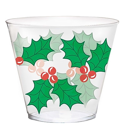 Amscan Holly Plastic Tumblers, 9oz (580003)
