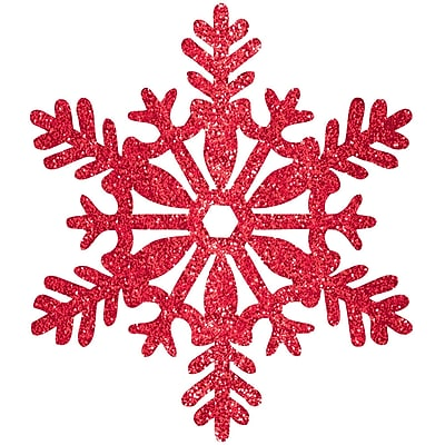 Amscan Glitter Snowflake Decoration, Red, Plastic, 11