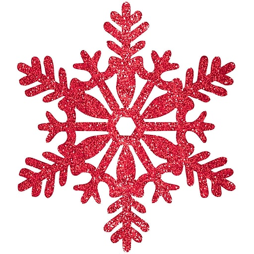 """Amscan Glitter Snowflake Decoration, Red, Plastic, 11"""", 5/Pack (191006)"""
