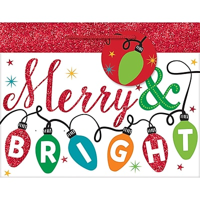 Amscan Merry and Bright Glitter Bag, 7