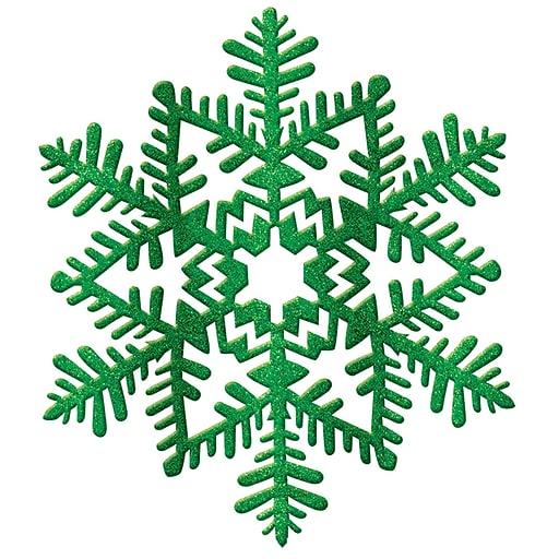 "Amscan Glitter Snowflake Decoration, Green, Plastic, 6.5"", 7/Pack (190226)"