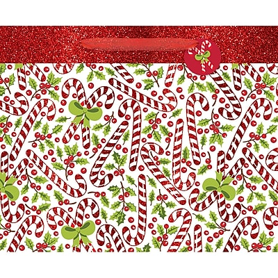 Amscan Candy Cane Bag with Glitter, 13.25