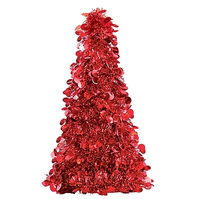 Amscan Tinsel Tree Centerpiece, Red, 10