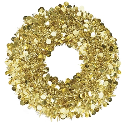 "Amscan Tinsel Wreath, Gold, 17"", 2/Pack, (240610)"