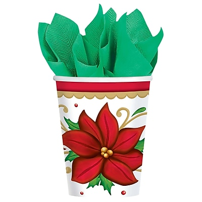 Amscan Winter botanical Paper Cup, 9oz, 2/Pack, 50 Per Pack (681177)