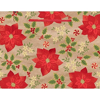 Amscan Poinsettia Hot Stamped Bag, 7