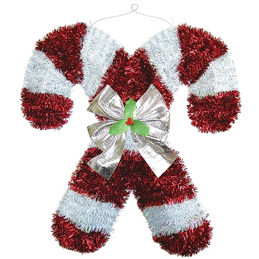 """Amscan Deluxe Candy Cane Tinsel Decoration, 18"""" x 17"""" x 2"""", 2/Pack (240614)"""