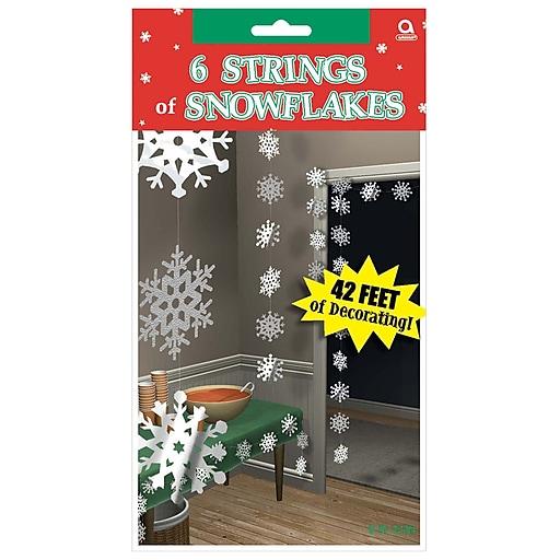 Amscan Snowflake String Decoration, Foil, 7', 3/Pack, 6 Per Pack (672015)