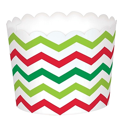 Amscan Mini Chevron Christmas Scalloped Cups, Paper, 2.25