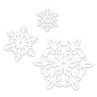 Amscan Glitter Snowflake Cutout Assortment, 2/Pack, 20 Per Pack (191817)