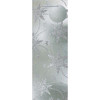 Amscan Snowflake Foil Bottle Bag with Glitter, Silver, 14