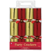 """Amscan Foil Embossed Crackers, 9.25"""", Red/Gold (392902)"""