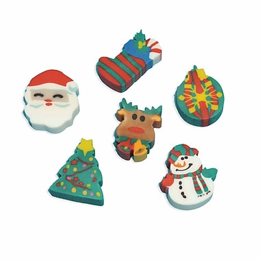 Amscan Holiday Fun Erasers, 6/Pack, 12 Per Pack (390729)