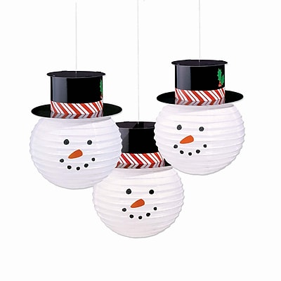 Amscan Snowman Lanterns with Hats, 12.5