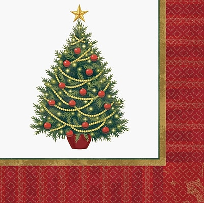 Amscan Twinkling Tree Luncheon Napkin, 6.5