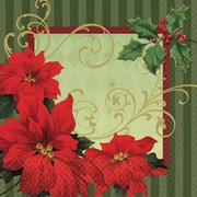 "Amscan Vintage Poinsettia Lunch Napkin, 6.5"" x 6.5"", 3/Pack, 36 Per Pack (719543)"