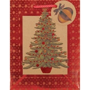 "Amscan Seasonal Tree Hot Stamped Kraft Bag, 9 "" x 7 "" x 4"", 18/Pack (160071)"