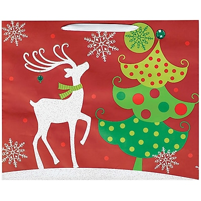 Amscan Contemporary Reindeer Bag with Glitter, 13.25