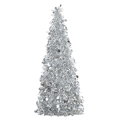 Amscan Tinsel Tree Centerpiece, Silver, 18