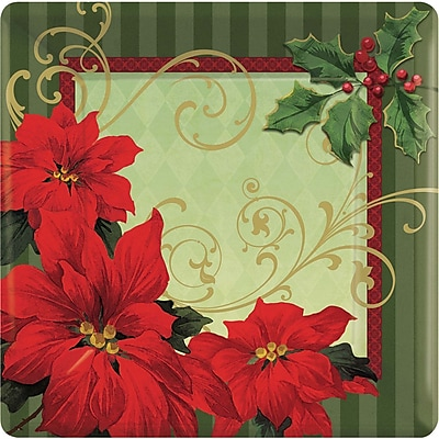 """""Amscan Vintage Poinsettia Square Paper Plate, 7"""""""" x 7"""""""", 3/Pack, 18 Per Pack (749543)"""""" 2537273"