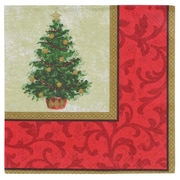 """Amscan Classic Christmas Tree Lunch Napkin, 6.5"""" x 6.5"""", 5/Pack, 16 Per Pack (519900)"""
