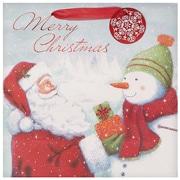 "Amscan Traditional Santa Hot Stamped Bag, 12 "" x 12 "" x 5"", 11/Pack (170241)"